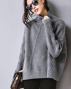 This image may contain: 1 black … – Glasses Ideas Knitwear Fashion, Knit Fashion, How To Purl Knit, Warm Outfits, Knitting Designs, Cardigans For Women, Pulls, Knitting Patterns, Knit Crochet