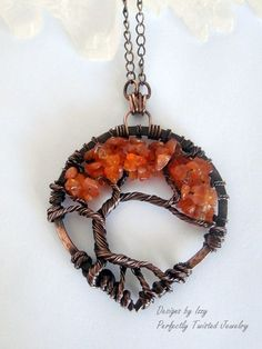 Wire Wrapped Tree of Life Pendant Necklace, Carnelian, Bonsai, Handmade, Antiqued Copper, Wire Tree Jewelry on Etsy, $60.00
