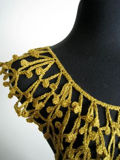 Mustard Gold Color Crocheted Collar