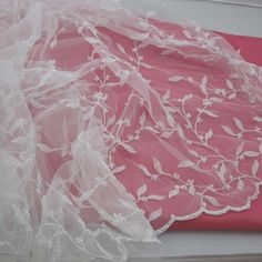 "54"" Double Scalloped Beaded White Netting, Exquisite!! (6 1/2 Yds. Available) (3-6-16)"