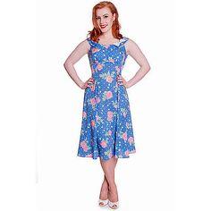 Hell Bunny Darlene Blue Pink Floral 1940s Wartime WW2 Style Summer Tea Dress