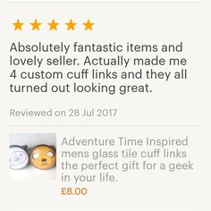 Wow what a fantastic lovely review, thank you so much for your review & purchase 😘 #craftyjujudesigns #craftyjujusweddingtreats #personalised #cufflinks #personalised #etsy #geek #wedding #specialorder #review #fivestarreview #uniquegift
