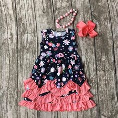 Navy & Coral Floral Ruffle Dress