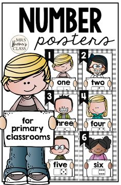 Number Posters featuring Melonheadz Kidlettes! Makes a sweet bulletin board display and a great visual reference for students who need support for numbers, number words, counting, and number order. #math #classroomsetup #classroom #classroomdecor #kindergarten #1stgrade First Grade Classroom, Primary Classroom, Classroom Setup, Classroom Organization, Learning Support, Fun Learning, Learning Activities, Teaching Ideas, Number Posters