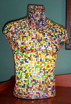 Back lit torso mosaic with stained glass - original work    MannequinMadness sells used mannequins for art projects like this