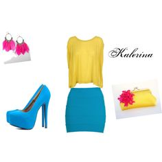 Sunny, created by kalerina on Polyvore  Blue skirt and sweude matching shoes with yellow top and clutch, with pink feather earrings.