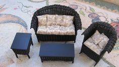 Artisan Dollhouse Miniature Wicker Sofa Set Handmade by Uncle Ciggie's