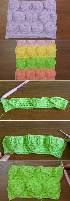 Crochet Heart Tutorial (border on scrap yarn blanket) Crochet Heart Blanket, Crochet Stitches For Blankets, Crochet Stitches Patterns, Crochet Motif, Crochet Designs, Crochet Baby, Free Crochet, Knit Crochet, Knitting Patterns