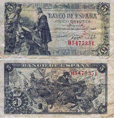 Billete de 5 pesetas de 1945-Madrid