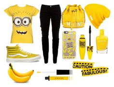 """Minions"" by daqueenbiatch ❤ liked on Polyvore featuring moda, Joie, Vans, Moschino, Casetify, Neff, Maybelline e Shany"