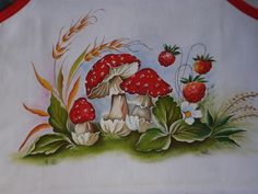 China Painting, Dot Painting, Fabric Painting, Painting On Wood, Tole Painting Patterns, Wine Bottle Art, Mushroom Art, Pottery Painting, Colorful Drawings