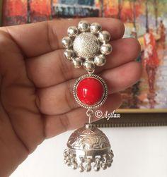 Ethnic sterling silver Artisan red coral Quartz gemstone earrings