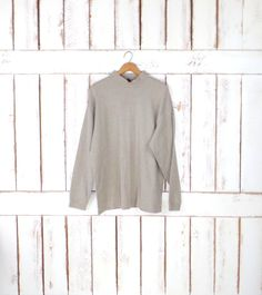 Vintage 90s light brown/tan ribbed pullover long sleeve top/minimalist striped knit mock turtleneck by GreenCnynMercantile on Etsy