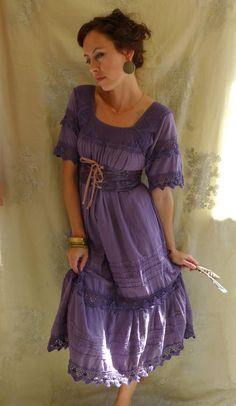 Mexican Gypsy Dress with Waist Cincher...