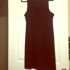 Like New dress Black V neck racer back dress with zipper and clasp in back. Has from pleats and stretchable fabric. Old Navy Dresses