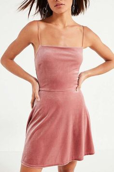 5717324c9872d Urban Outfitters Pink Velvet Straight-Neck Mini Dress Size Small #fashion # clothing #