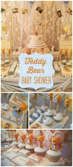 What an adorable teddy bear baby shower! So much cuteness! See more party… Fiesta Baby Shower, Baby Shower Niño, Baby Shower Cupcakes, Baby Shower Gender Reveal, Baby Shower Parties, Baby Shower Themes, Baby Shower Decorations, Shower Ideas, Baby Showers