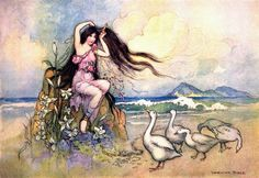 Marziella on the Seashore - 23 - The Two Cakes - Warwick Goble ill, Stories from the Pentamerone, London 1911 (Il Pentamerone, The Story of Stories by Giambattista Basile, Warwick Goble, Giambattista Basile, Coloring For Kids, Coloring Books, Fairytale Art, Faeries, Amazing Art, Fairy Tales, Illustration Art