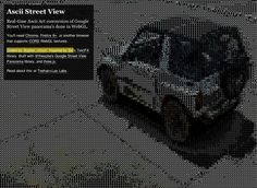 """Ascii Street View:    """"Real-time Ascii Art conversion of Google Street View panorama's done in WebGL."""""""