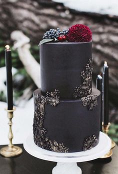 Black And White Wedding Cakes Ideas ★ black and white wedding cakes small black wedding cake jennfromttheblock Black White Cakes, Black And White Wedding Cake, Black Wedding Cakes, Floral Wedding Cakes, Halloween Wedding Cakes, Christmas Wedding Cakes, Halloween Cakes, Pretty Cakes, Beautiful Cakes