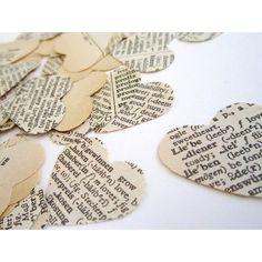 Autumn Fall Vintage wedding confetti Paper Hearts 150 hearts LOVE language French English Italian Spanish diy wedding favors decor (49 ZAR) found on Polyvore