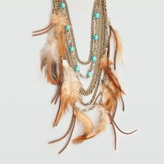 FULL TILT Tiered Chain Feather Cord Necklace