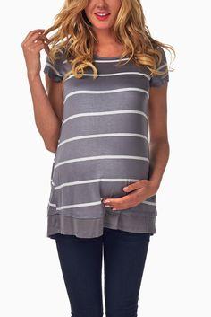 Grey-White-Striped-Button-Accent-Maternity-Top #maternity #fashion