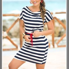 Navy and White Striped Boatneck Dress Beach/Nautical inspired! Brand new with tags just listing it for now in case I can't fit after pregnancy ;) cute red attached ties. Super soft vicose and elastane materials for a flattering fit. 'Nautical stripes and a contrast tie-waist add casual-chic flair to this breezy dress, while stretchy fabric ensures a comfortable, firm-flattering fit.' Comes from a Clean, Smoke and Pet Free Environment. AM PM Dresses