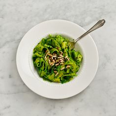 Perfect winter pesto pasta ~ Pappadrelle with Kale Pesto from loveandlemons.com