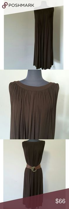 """Brown Draped Anne Klein Dress Size Large This beautiful Anne Klein dress is beautifully draped and looks great  loose or belted.  It has a lining and is made of 90% modal and 10% elastane. Chest:29"""" Back length: 42""""  My home is smoke-free and pet-free.  Check out the other items in my closet to bundle two or more items for a great bundle discount.  I consider all offers.  Happy POSHING! Anne Klein Dresses"""