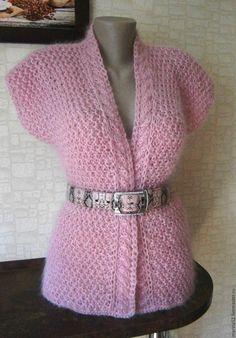 """Купить Жилет """"Роза"""" - бледно-розовый, жилет, Жилет женский, жилет вязаный, жилет спицами"""