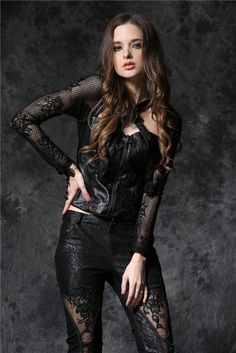 Gothic Jewelry Victorian Gothic rose leather jacket top with sexy flower lace and leather loops - Gothic rose leather jacket top with sexy flower lace and leather loops Goth Beauty, Dark Beauty, Gothic Girls, Gothic Lolita, Gothic Dress, Dark Fashion, Gothic Fashion, Steampunk Fashion, Emo Fashion
