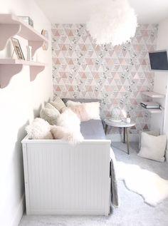 Girl's 'Chill Out' Room - GeorgieRose interior design cheltenham Pink Bedroom Decor, Room Ideas Bedroom, Small Room Bedroom, Gray Bedroom, Bedroom Inspo, Trendy Bedroom, Rose Gold And Grey Bedroom, Grey Bedroom With Pop Of Color, Rose Gold Rooms