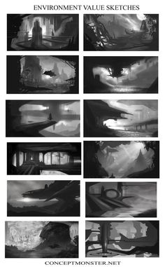 Here are some examples of preliminary environment examples I use in my concept art class. These are done pretty quickly, as there is no color and not mu. Environment Value Sketches Environment Sketch, Environment Design, Matte Painting, Digital Painting Tutorials, Art Tutorials, Storyboard, Bg Design, Thumbnail Sketches, Landscape Concept