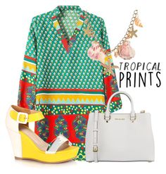 """Untitled #11"" by sassyqxeens ❤ liked on Polyvore featuring MICHAEL Michael Kors, tropicalprints and hottropics"