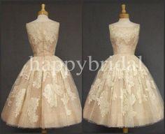 Long 1980S Vintage Champagne Lace Bridesmaid Dresses Formal Party Dresses Evening Dresses High Quality Dresses