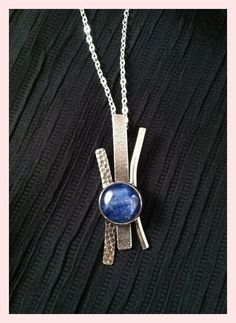 Hand crafted sterling silver pendant with bezel set kryonite, abstract with texture, on a chain, SuSu Studio - add lapis and diamonds Metal Clay Jewelry, Pendant Jewelry, Pendant Necklace, Amethyst Necklace, Ruby Pendant, Birthstone Necklace, Pearl Necklace, Jewelry Necklaces, Silver Bracelets