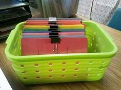 Use binder clips to separate flash cards.