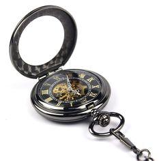 Rbp7 Relógio De Bolso Aço Folh Preto Func Corda Alg Romanos - R$ 84,90 no MercadoLivre