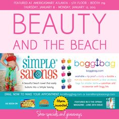 The biggest gift show ever is right around the corner and Bogg Bag is thrilled to be exhibiting in General Gifts - Floor 5 - Booth 219 with Simple Sarongs!  Stop by and see us!  #boggbag #beachbag #bestbeachbagever #americasmart #Atlanta #giftshow #simplesarongs #beach #coverup #mominvented #todayshow #oprah #gma #entrepreneur #ss2015