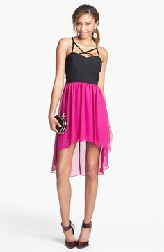 Trixxi High/Low Chiffon Dress (Juniors) (Online Only) | Nordstrom