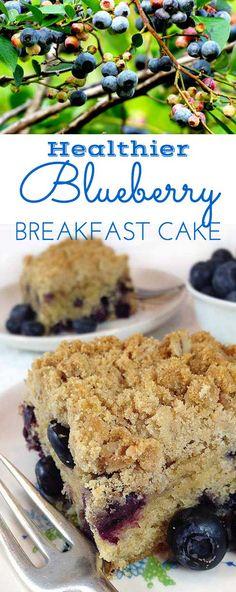 Healthier Oatmeal Streusel Blueberry Breakfast Cake. Tender coffee cake packed…
