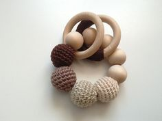 crochet natural wood teether  teething ring  by RedOgeeSheep