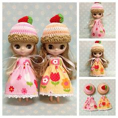 "Petite Blythe / Little Dal Outfit : ""Blossoms & Cupcakes Twin Set"" (2 Dresses and 2 Crochet hats)"