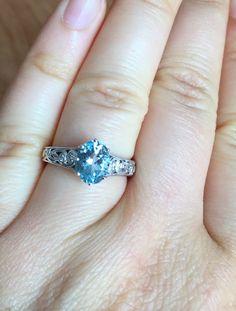 Engagement and Wedding Ring Natural Aquamarine by BridalRings