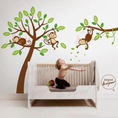 Tree Wall Decal Wall Sticker  Monkeys on Tree by DesignedDesigner