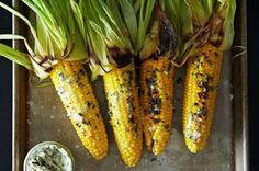 12 New Ways to Eat Corn This Summer - Best Corn Recipes grilled corn with basil butter Corn Recipes, Side Dish Recipes, Basil Recipes, Recipies, Vegetable Recipes, Kebabs, Basil Butter Recipe, Vegan Butter, Bon Appetit