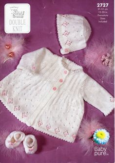 baby knitting pattern pdf baby matinee jacket bonnet and slippers premature sizes 12-20inch DK light worsted 8ply pdf instant download by Minihobo on Etsy