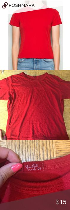 BRANDY MELVILLE red Tshirt Super soft, stretchy and comfy Tshirt. Vibrant red, not super tight but not super loose the perfect Tshirt fit. Brandy Melville Tops Tees - Short Sleeve