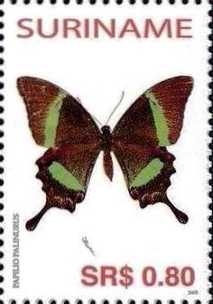 Stamp Emerald Peacock Papilio Palinurus Suriname Butterflies MiSR 1973SnSR 1323i